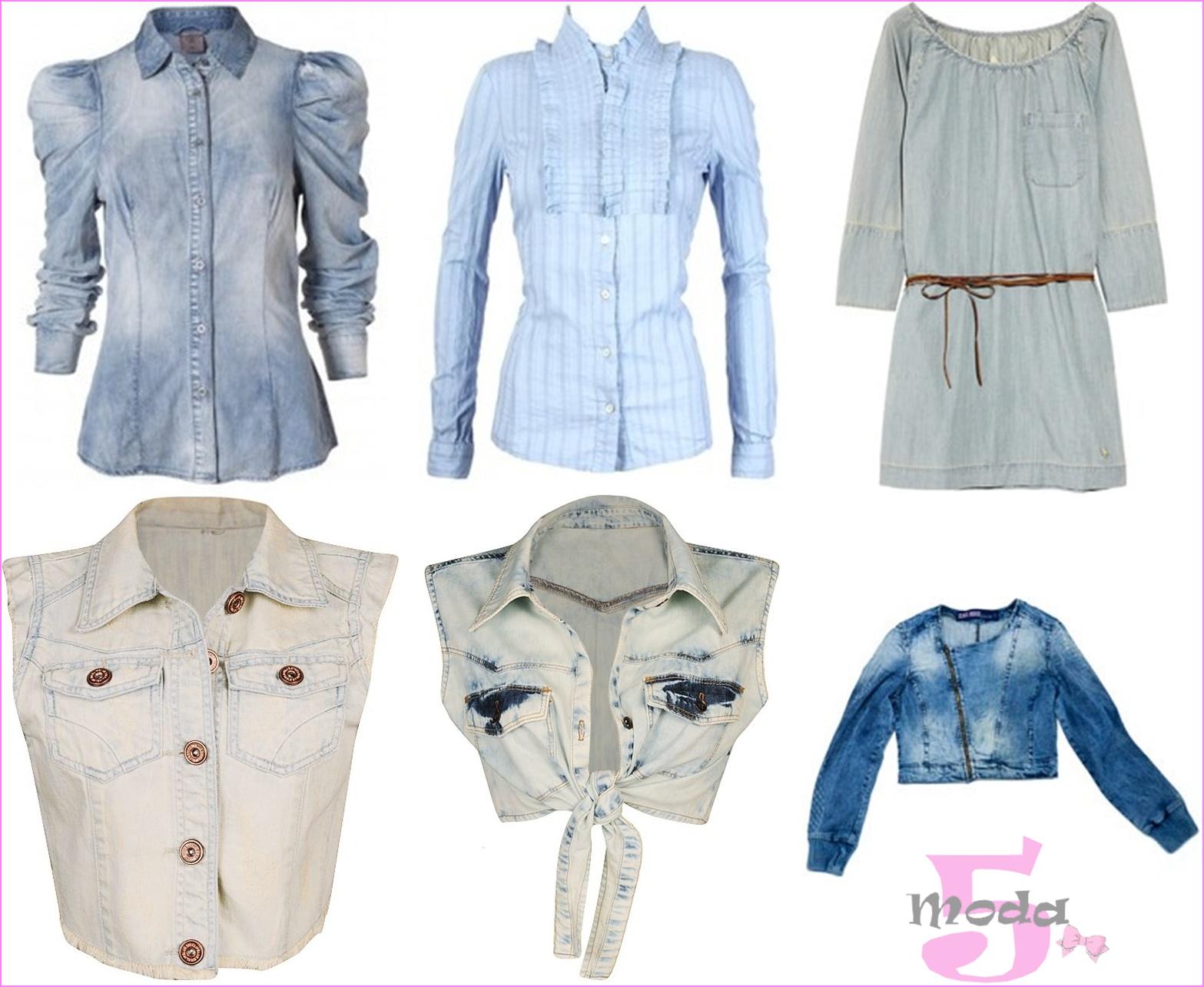 Blusas, camisas, batas e coletes jeans