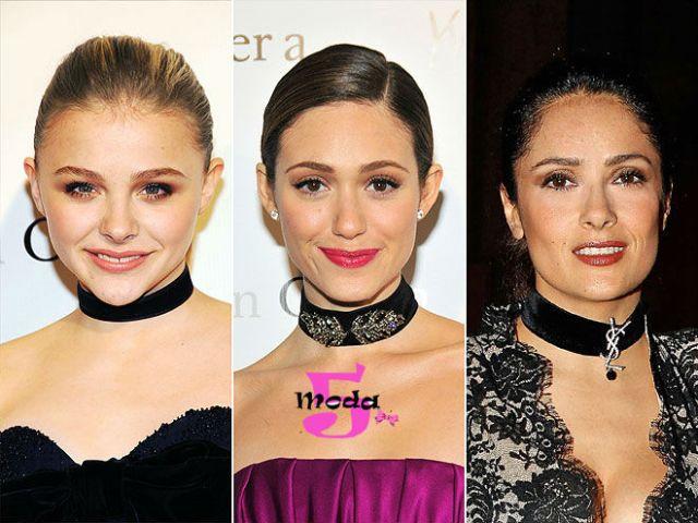 celebridades, coleira de veludo, inverno, tendência