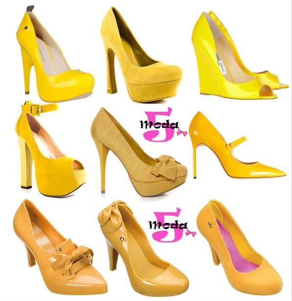 Yellow Pumps, Scarpins amarelos, sandálias amarelas, salto alto, famosas inverno